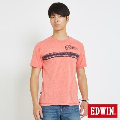 EDWIN 衝浪條紋口袋T恤-男-淺桔色