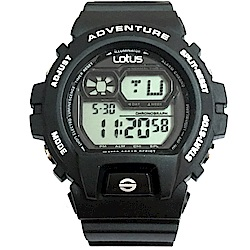 Lotus 強悍潮流 計時鬧鈴休閒錶(TP1337M-01)-黑/52mm
