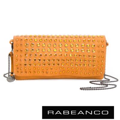 RABEANCO-璀璨時尚滿鑽晚宴手拿包-亮粉橘