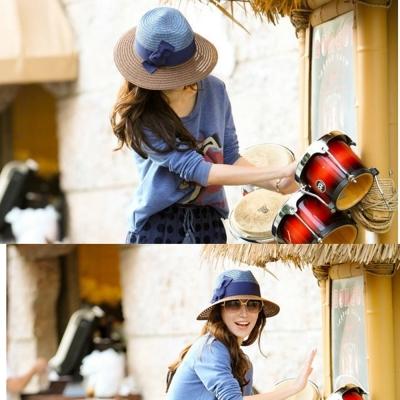 梨花HaNA  夏日出遊時尚撞色藍咖紳士帽草帽