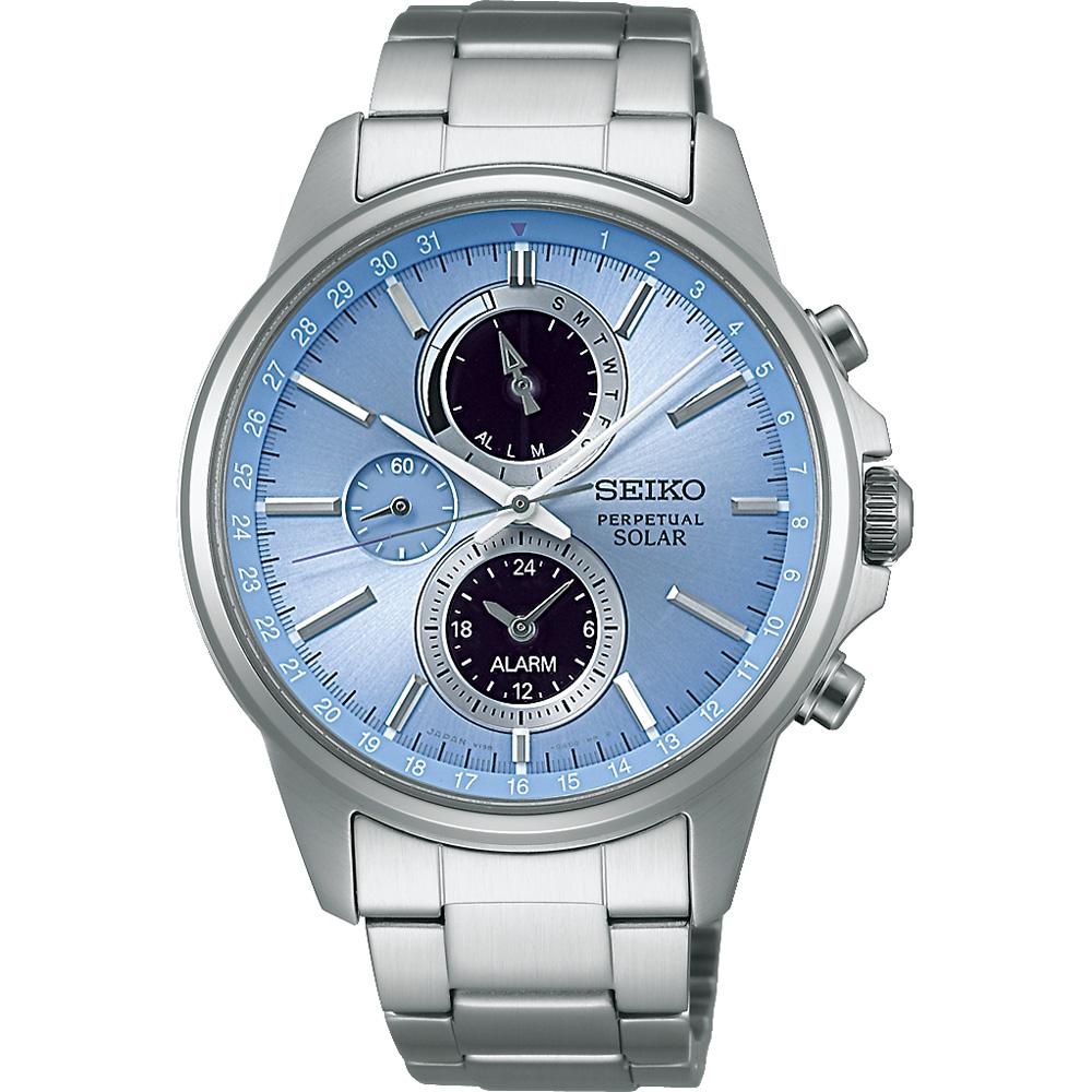 SEIKO 精工 SPIRIT 太陽能動力儲存計時碼錶(SBPJ001J)-藍/41mm