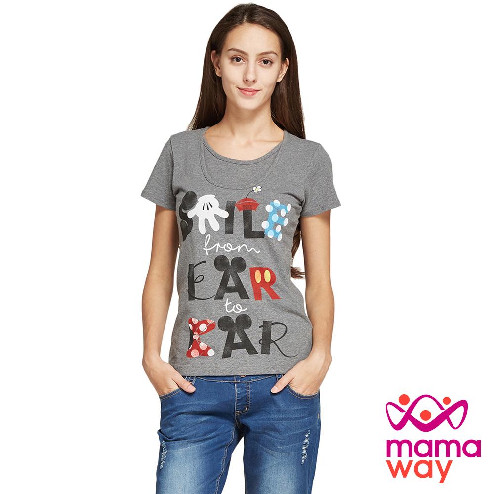 孕婦裝 哺乳衣 迪士尼手繪風孕哺彈性棉T Mamaway