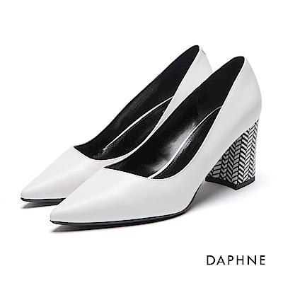 達芙妮DAPHNE 高跟鞋-幾何撞色素面尖頭馬蹄粗高跟鞋-白