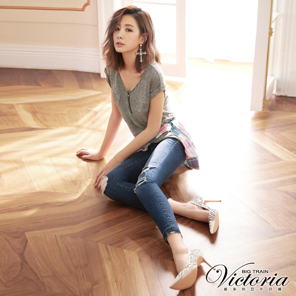Victoria 低腰補丁不收邊九分褲-女-深藍