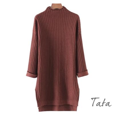 長版立領前短後長針織上衣 共三色 TATA