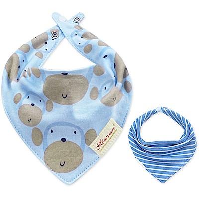 Baby unicorn 藍色猴子條紋款純棉雙面圍兜口水巾