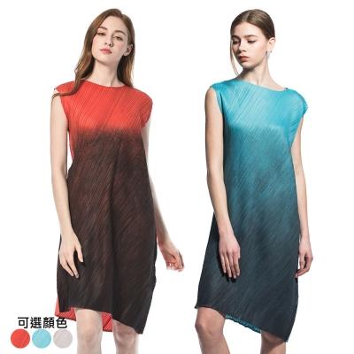 簡約漸層圓領無袖壓摺洋裝(共三色)-玩美衣櫃