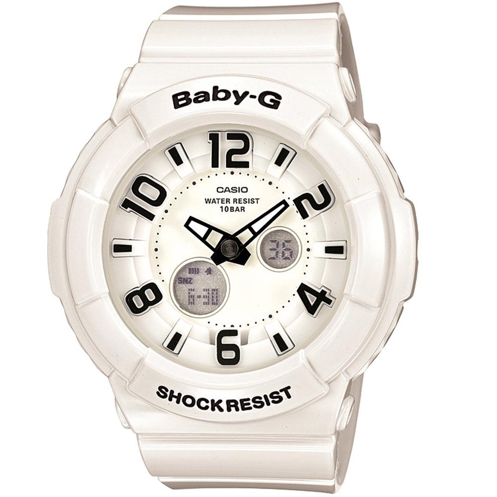 BABY-G 立體數字層次霓虹多彩休閒錶-白/43.4mm