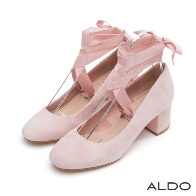 ALDO-原色真皮2WAY蝴蝶結粗跟鞋-名媛亮粉