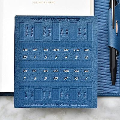 PLEPIC 經典造型皮革標籤貼-海軍藍