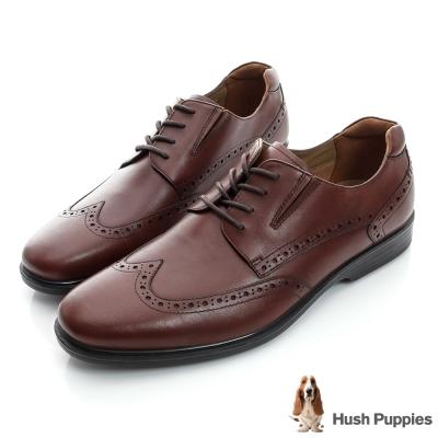 Hush Puppies 超彈力防水紳士正裝鞋-棕色