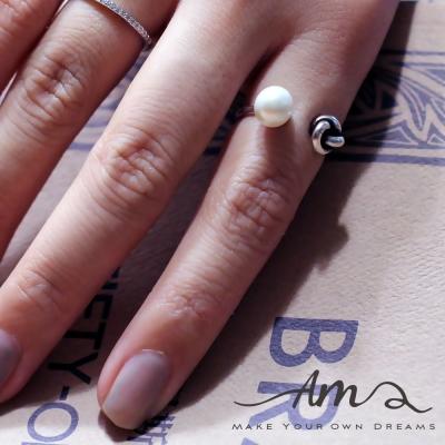 AM輕飾品 珍珠打結純銀戒指 開口戒 活圍戒