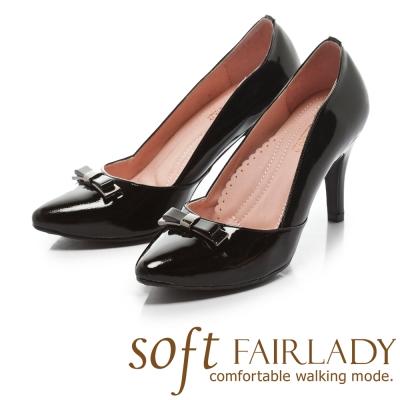 Fair Lady Soft芯太軟 立體典雅蝴蝶結尖頭高跟鞋 黑