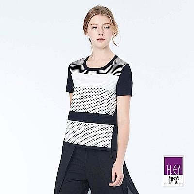 ILEY伊蕾 時尚幾何緹織剪接針織衣(黑)