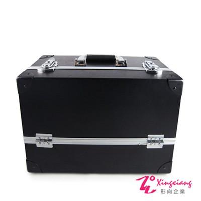 Xingxiang形向英倫風復古皮革手提化妝箱黑6K-26
