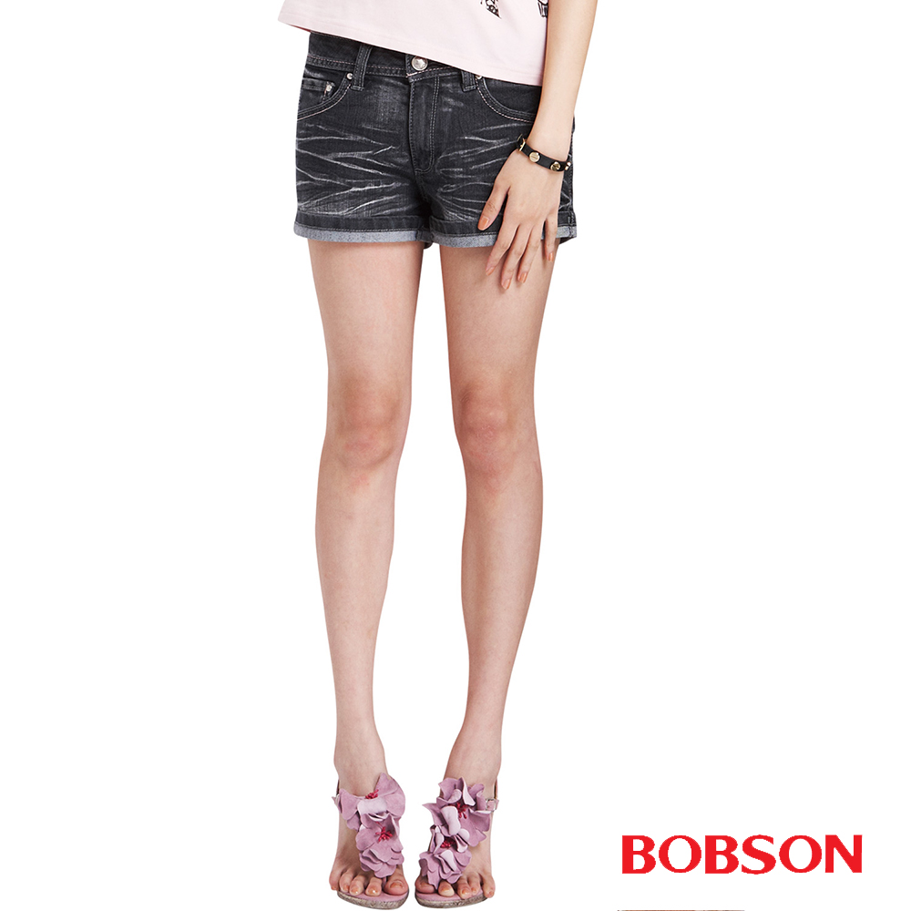 BOBSON 女款鑽飾翅膀刺繡超短褲