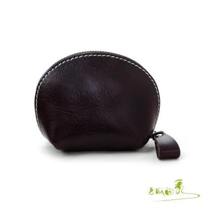 手感的秀-植鞣革海洋風貝殼零錢包-巧克力咖