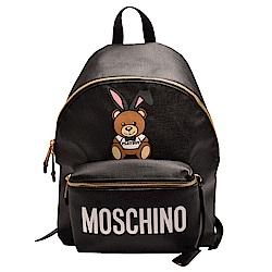 MOSCHINO PLAYBOY聯名款小熊圖案尼龍手提/後背包(大-黑)