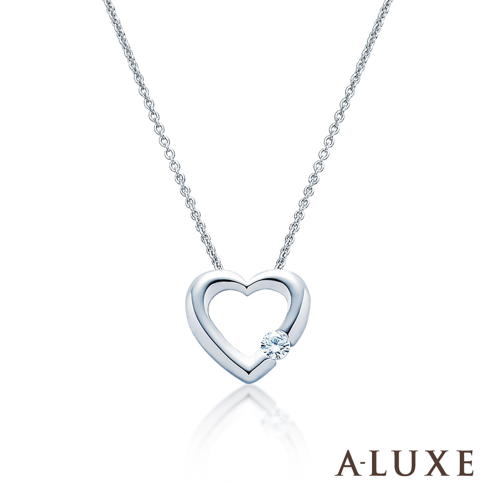 A-LUXE 亞立詩 The Heart 18K白金鑽石鎖骨項鍊