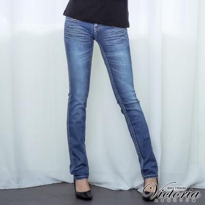 Victoria 小袋貼鑽TENCEL小直筒褲-女-中藍