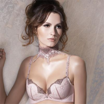 【La Felino】瑰麗公主3/4罩絲棉剪接內衣 (藕紫)