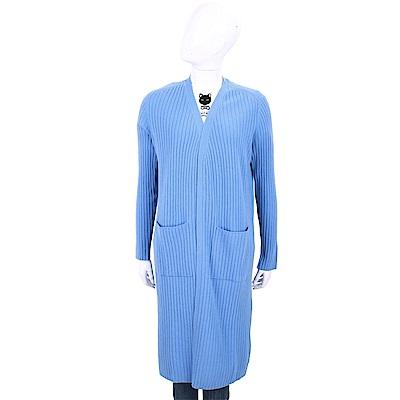 ALLUDE 100%喀什米爾天藍色粗坑針織長版羊毛罩衫