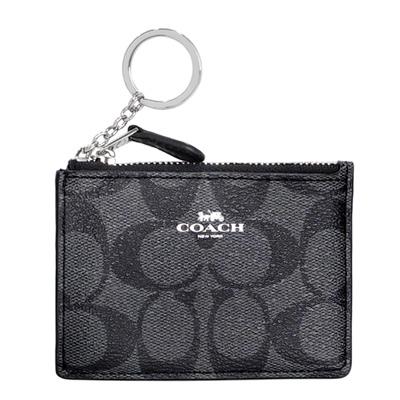 COACH灰黑C Logo後拼真皮卡夾鑰匙零錢包