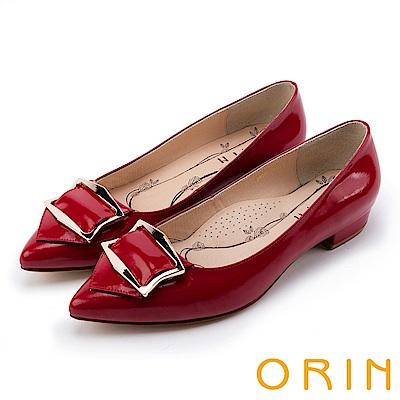 ORIN OL上班鞋 全真皮造型方釦尖頭粗低跟鞋-紅色