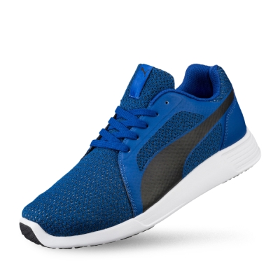PUMA ST TrainerEvoKnit男女復古慢跑運動鞋-真實藍