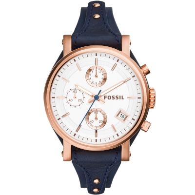 FOSSIL 經典造型三眼計時腕錶-白X藍/38mm