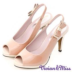 Vivian&miss撞色蝴蝶結魚口跟鞋