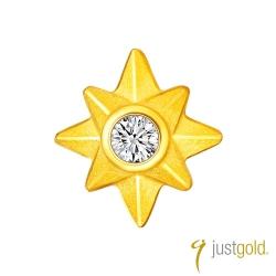 鎮金店Just Gold 點點星光黃金系列-純金貼耳耳環(單耳)