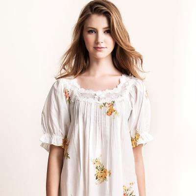 羅絲美睡衣 - 典雅印花短袖洋裝睡衣 (純潔白)
