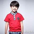 Mini Jule 童裝-上衣 徽章格紋假兩件短袖POLO衫(紅)