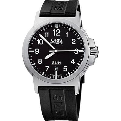 Oris BC3 Advanced 日曆星期飛行錶-黑x橡膠錶帶/42mm