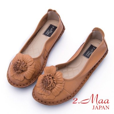 2.Maa-清秀佳人牛皮舒適平底包鞋-棕