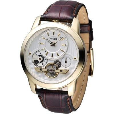 FOSSIL-TWIST雅爵經典雙機芯腕錶-白x咖