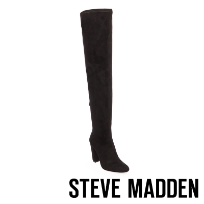STEVE MADDEN-EMOTIONS-BLACK 過膝長筒粗高跟套靴-黑色