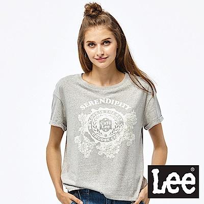 Lee 蕾絲短袖圓領TEE-女款-灰色