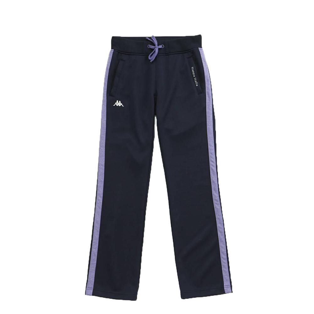 KAPPA義大利 時尚女吸濕排汗針織慢跑韻律長褲1件 丈青薰衣紫