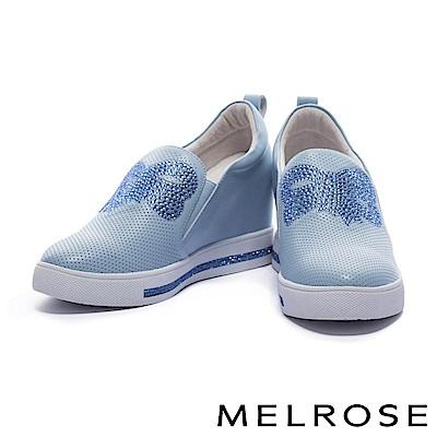 休閒鞋 MELROSE 奢華俏麗晶鑽蝴蝶結設計沖孔拼接厚底休閒鞋-藍