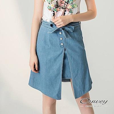 OUWEY歐薇 甜美綁帶裝飾牛仔A字裙(藍)