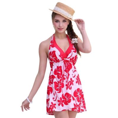 Aquanaut奧可那泳裝 時尚紅花外罩衫三件式比基尼
