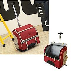 摩達客 雙肩大背包式寵物拉桿箱(紅色/拉背提三用/可拆卸拉桿拖板)