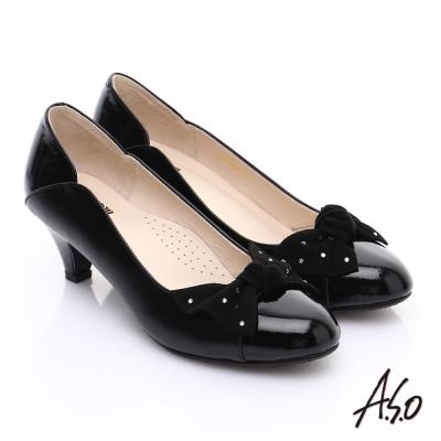 A.S.O 輕透美型 全真皮扭結蝴蝶低跟鞋 黑