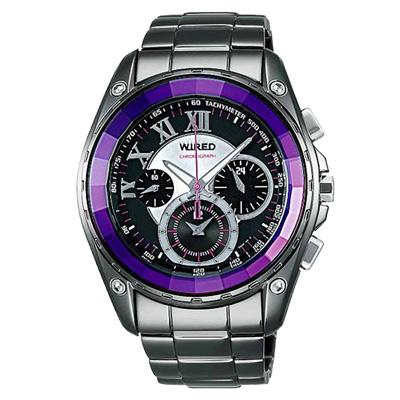 WIRED 東京街頭三眼計時腕錶(AL2043X)-黑x紫/44mm