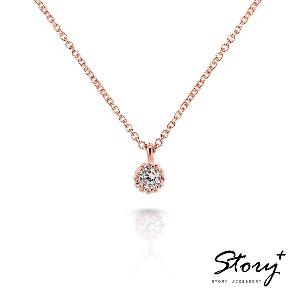 STORY故事銀飾-Star晶鑽系列-TwinkleStar 純銀晶鑽項鍊(玫瑰金)