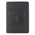 Ralph Lauren 酷炫小馬直立式6卡短夾(黑)