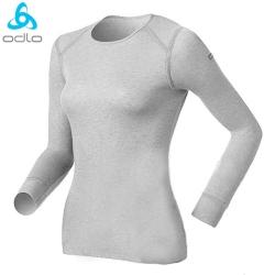 【瑞士 ODLO】warm effect 女機能型銀離子圓領保暖上衣.衛生衣/深麻灰