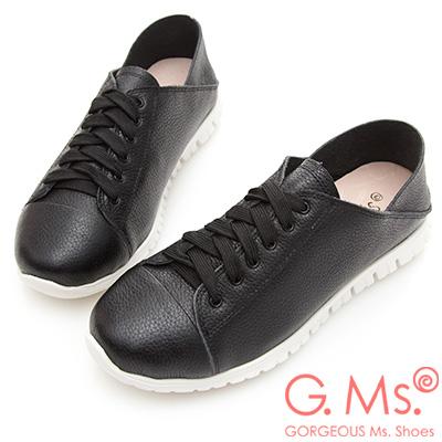 G.Ms. 2WAY牛皮踩腳綁帶休閒鞋-黑色